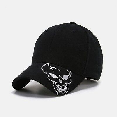 Black Skull Skateboard Biker Skeleton Motorcycle Punisher Baseball Ball Hat Cap