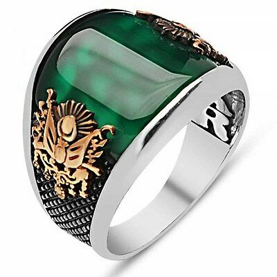 Turkish Ottoman EMERALD Agate Stone 925 K Sterling Silver Mens Ring All size