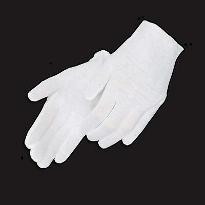 48 Pairs White Coin Jewelry Silver Inspection Cotton Lisle Gloves - Light Weight