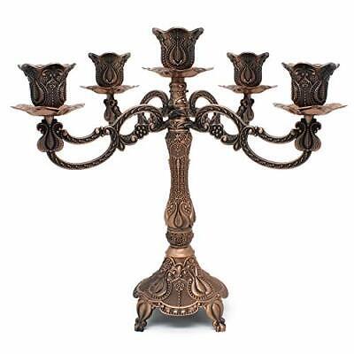 Dorlotou Metal Candelabra 5-Candle 10.1 Inch Tall Candle Holder Stick for Hom...