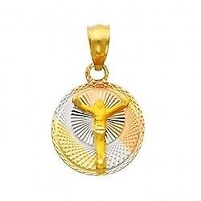 14K Tri Color Gold Diamond Cut Disc Religious Jesus Round Stamp Charm Pendant Diamond Round Disc Charm