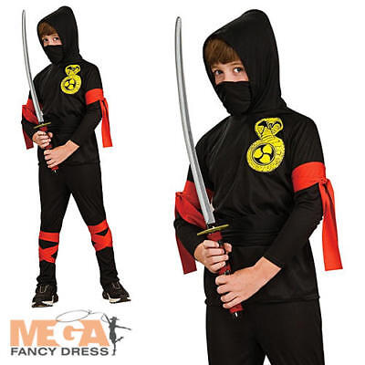 Ninja Boys Martial Arts Fancy Dress Kids Black Uniform + Hood Halloween Costume (Martial Arts Ninja Kostüm)