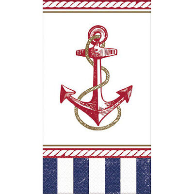 SUMMER Nautical Anchors Aweigh GUEST NAPKINS (16) ~ Birthday Party Supplies Blue - Nautical Birthday Party Supplies