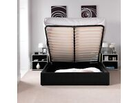 💛💛High Padded Headboard💛💛DOUBLE LEATHER STORAGE BED FRAME GAS LIFT UP WITH CHOICE OF MATTRESSES