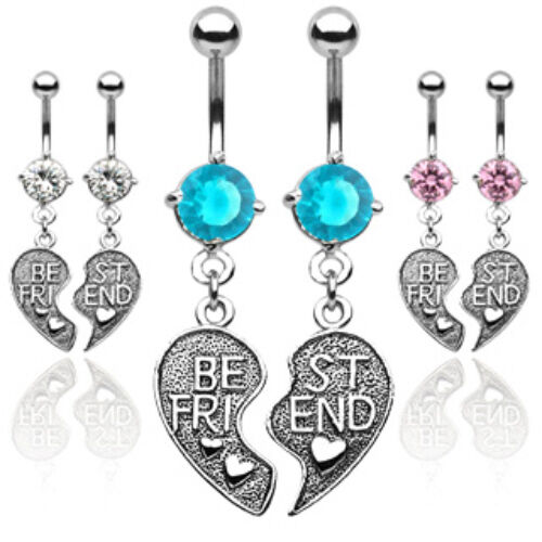SPECIAL PRICE - 6pcs Best Friends Gem Dangle Belly Ring Navel Naval (B306)
