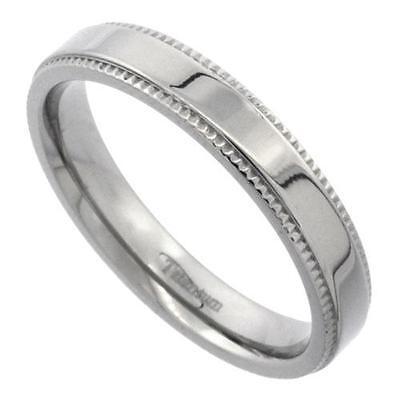 4MM Flat Titanium Wedding Band Ring Milgrain High Polish Comfort Fit Size 5 -14