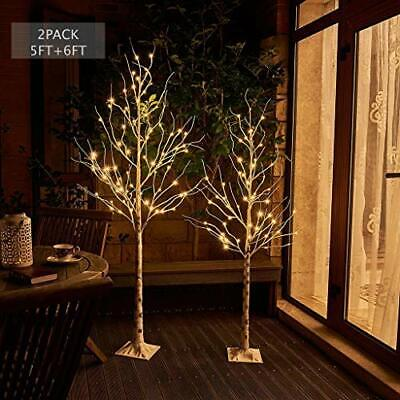 Vanthylit Pre-lit Birch Tree 2 Pack 5FT 6FT with Warm White for Party Wedding...