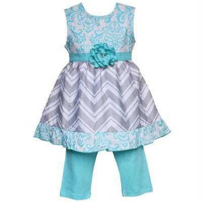 Damask Baby Girl Clothes (AnnLoren Girls Blue Damask & Grey Chevron Dress & Legging Set )