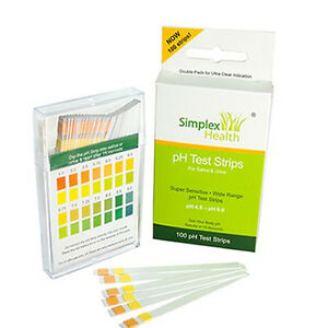 pH Test Strips (100 Strips) for Urine & Saliva. Alkaline Diet Testing