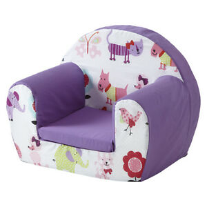 Cute pets purple childrens kids comfy foam chair toddlers for Toddler foam chair