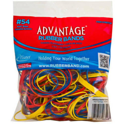 Rubber Bands Size #54 (Assorted Size & Color) Heavy Duty Made in USA 1/8 lb