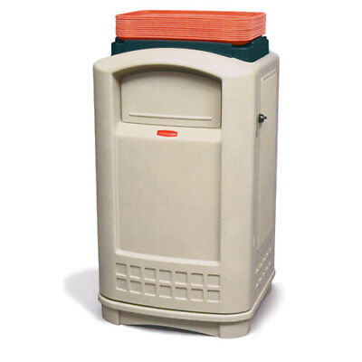 Rubbermaid Plaza Waste Receptacle W/Standard Swing Doors and Tray Top, (Plaza Receptacle)