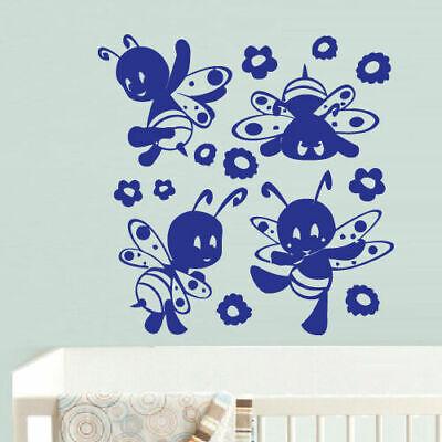 Honey Bee Baby Nursery - Wall Vinyl Sticker Bedroom Funny Bee Honeybee Baby Kids Nursery (Z696)