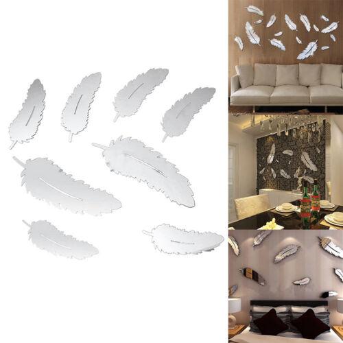 Home Decoration - 8Pcs Feather 3D Mirror Wall Art Sticker Decal Art Mural Vinyl Home Room Decor AU