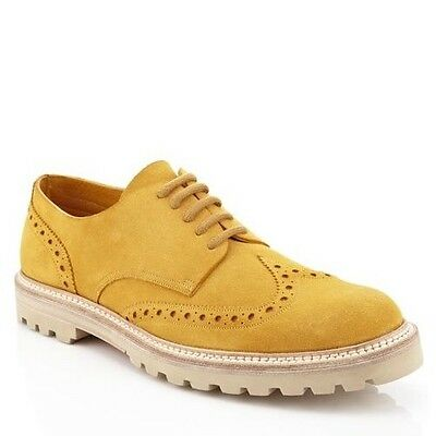 650  Bally Yellow Suede Wingtip Design Shoes Size US 13 Made in Switzerland c680089e1