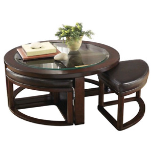 Brand New Round Coffee Table With Four Ottoman Nested Stools