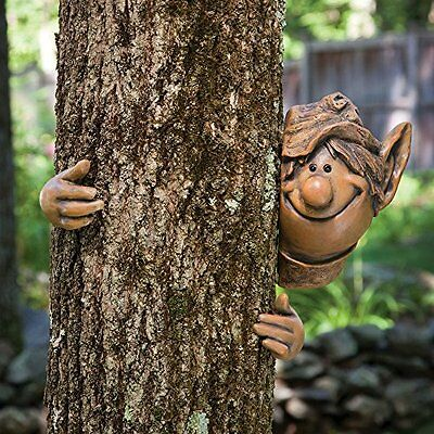 MYSTICAL GARDEN ELF TREE PEEKER NOVELTY GARDEN ORNAMENT FENCE OR SHED DECORATION
