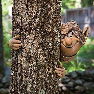 MYSTICAL GARDEN ELF TREE PEEKER NOVELTY GARDEN ORNAMENT FENCE OR SHED DECORATION