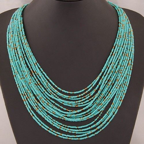 Jewellery - Red Blue  Bo Ho Necklace Multi Layer Bib Statement  Jewellery Long Blue Red Uk