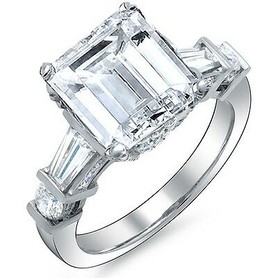 2.80 Ct Emerald Cut Baguette & Round Diamond Engagement Ring H VVS2 GIA Platinum