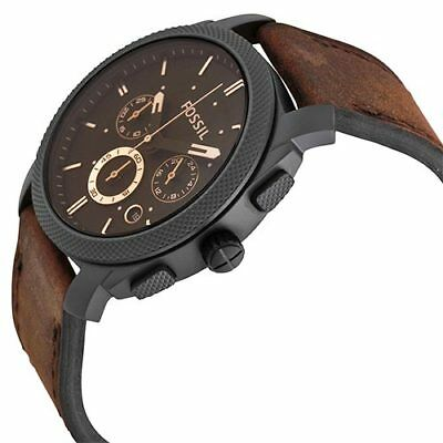 Fossil Men's Machine FS4656 Brown Leather Analog Quartz Fashion Watch