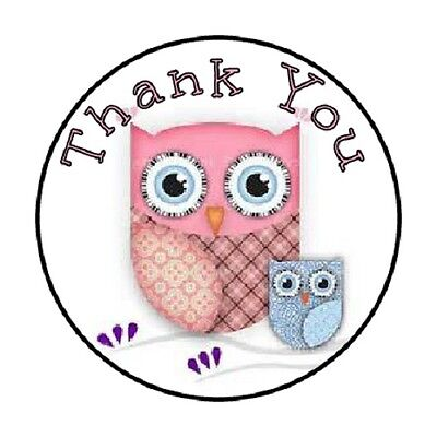 48 Thank You Owl Pink Blue    Envelope Seals Labels Stickers 1 2  Round