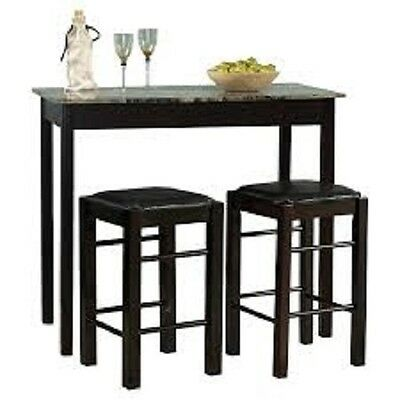 Dining Room Breakfast Bar Height 3 Piece Set Side Table Serving Kitchen