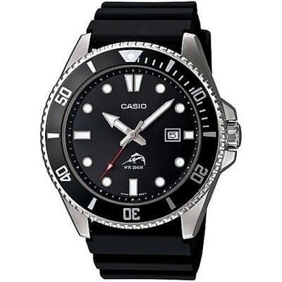 Men's Casio Black Dive-Style Sport Resin Analog Display Watch MDV-106-1AVCF