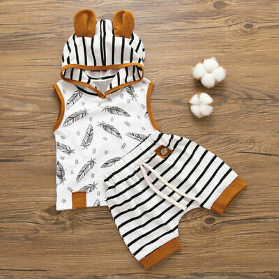 Newborn Baby Boys Girls Hooded Tops T-shirt+Striped Shorts Pants Summer Clothes