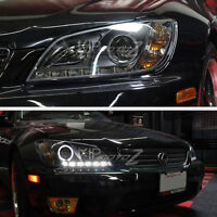 01-05 LEXUS IS300 Black Projector Headlight Halo Angel Eyes