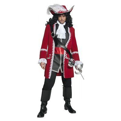 Smiffy's Pirat Kapität Haken Rot Jacke Herren M Halloween Kostüm 36174 ()