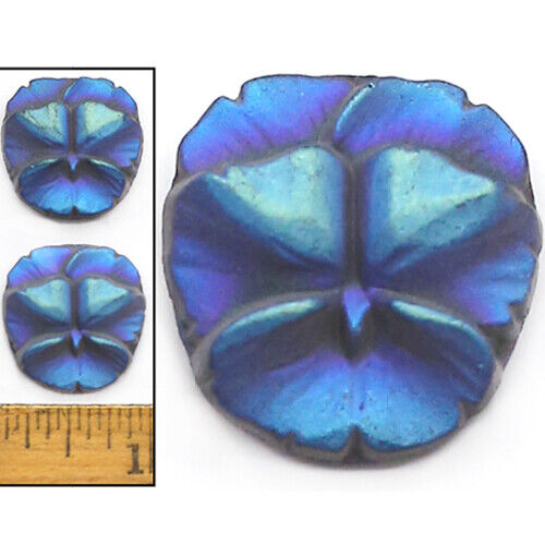 22mm Vintage Czech Dk BLUE AB 3-D Frosted Violet Pansy Flower Glass Buttons 2pc