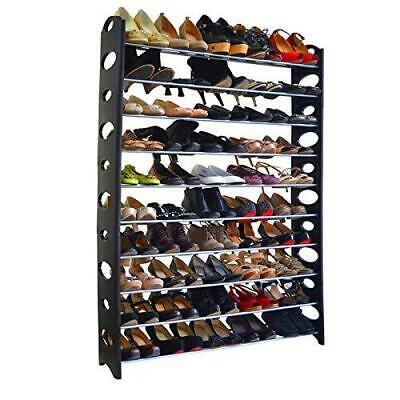 Shoe Rack 10 Tier 50 Pair Shelf Closet Organizer Storage Free Standing Home Closet Organizer Shoe Rack