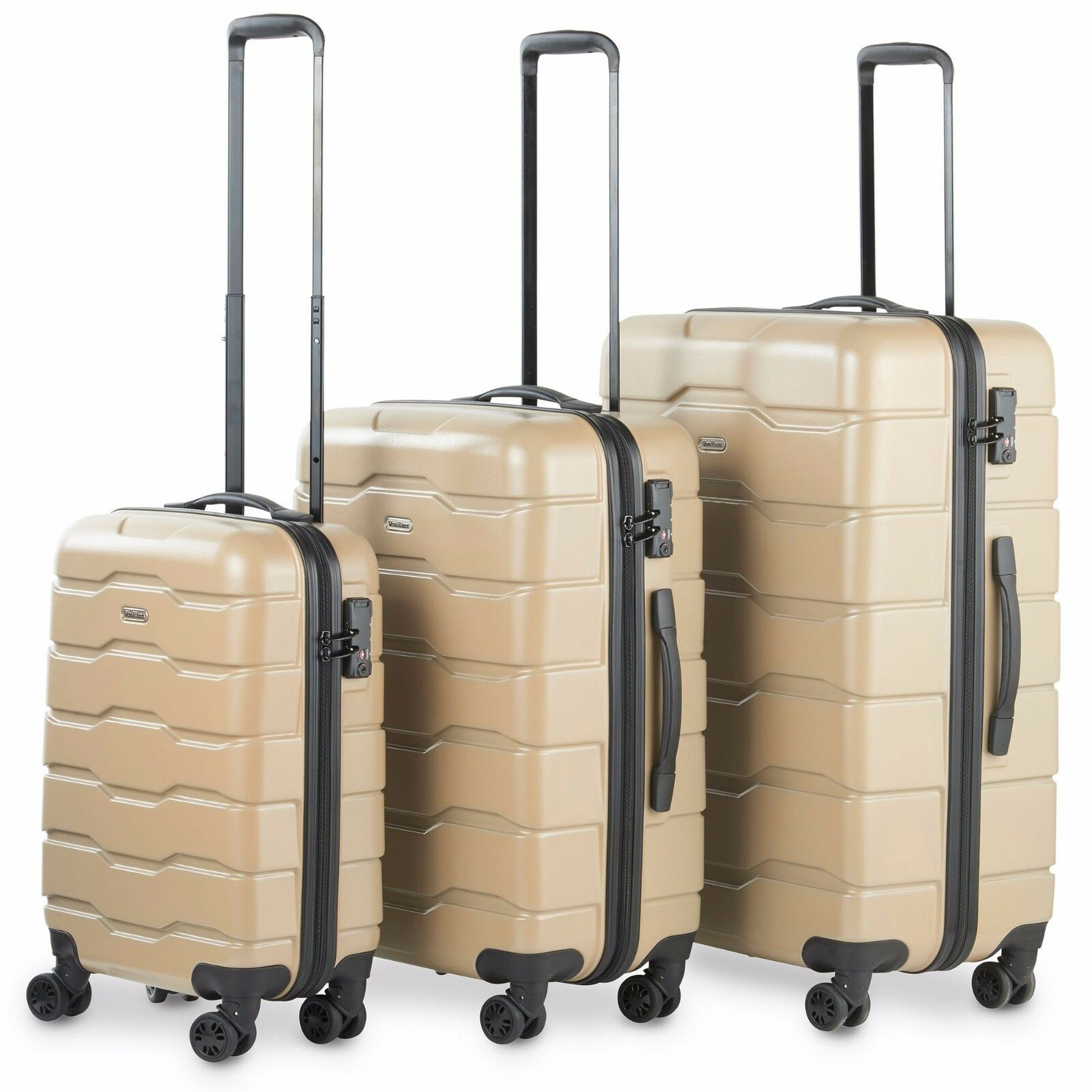 VonHaus Champagne 3-Piece Luggage Set Lightweight Travel Har