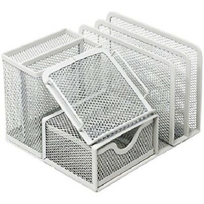Easypag Mesh Desk Organizer 5 Compartments And 1 Slide Drawerwhite