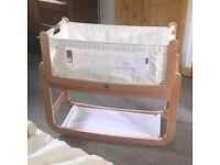 Snuzpod crib bundle (crib, storage pocket, mattress, mattress protector x 2)