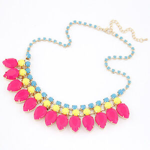 Stylish Bright Holiday Festival Fluorescent Pink Statement Necklace SS14 N209028