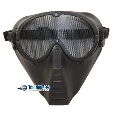 Black Metal Mesh Protective Airsoft Paintball Tactical Full Face Google Mask -