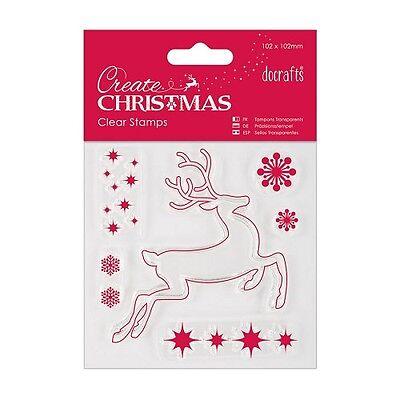 Motivstempel Clearstamps 6St. Reindeer Rentier Schneeflocken DoCrafts PMA 907937 ()