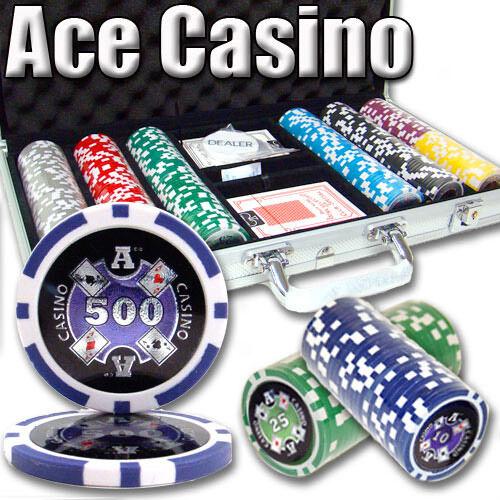 NEW 300 Piece Ace Casino 14 Gram Clay Poker Chips Set with Aluminum Case Custom