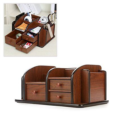 Classic Drawer Organizers Brown Wood Office Supplies Desk Rack With 3 Drawers