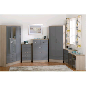 New arjona wardrobe with 2 drawer bedside and 5 drawer chest