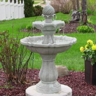 SOLAR POWERED 2-TIER BIRD BATH WATER FOUNTAIN NEW