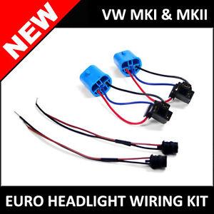 VW Golf Jetta MK1 MK2 Euro to NA Headlight Wiring Kit H4 ...