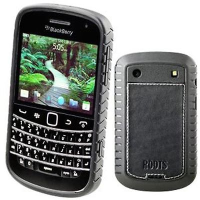 (Black Roots Elite Leather Case Cover Screen Protector Blackberry Bold 9900/9930 )