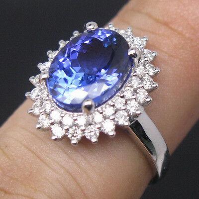 JEWELRY SET 18K WHITE GOLD VIOLET BLUE TANZANITE ENGAGEMENT VS DIAMOND RING