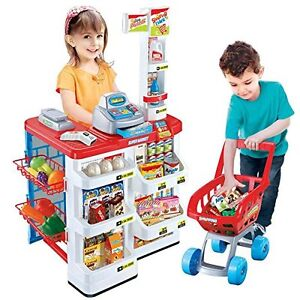 Childrens Kids Pretend Role Play Big Supermarket Shop Toy Set Trolley & Food 668