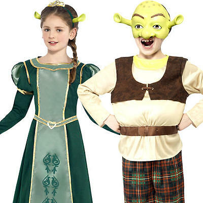 Shrek or Fiona Kids Fancy Dress Fairy Tale Book Day Character Childrens Costumes (Boys Fairytale Characters)