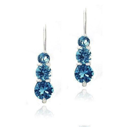 blue topaz drop earrings ebay