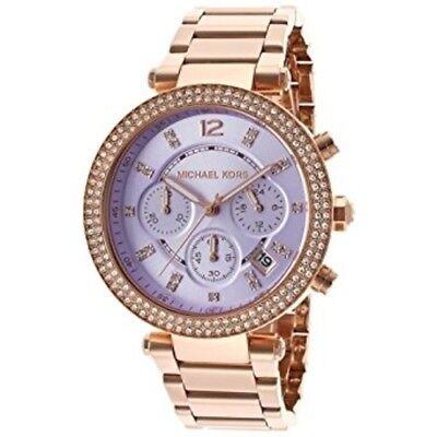 acd43a404420 Michael Kors Women s MK6169 Parker Chronograph Rose Gold Tone Purple Dial  Watch